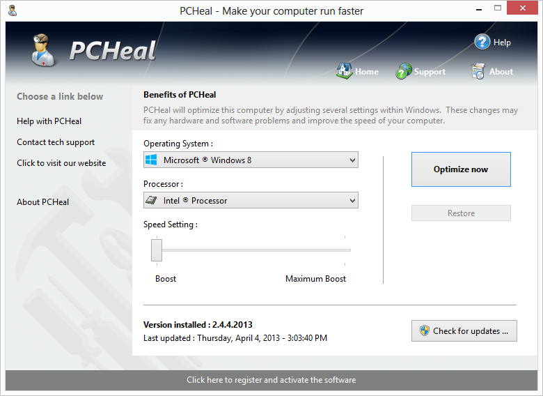 Click to view PcHeal 1.3.4.2013 screenshot