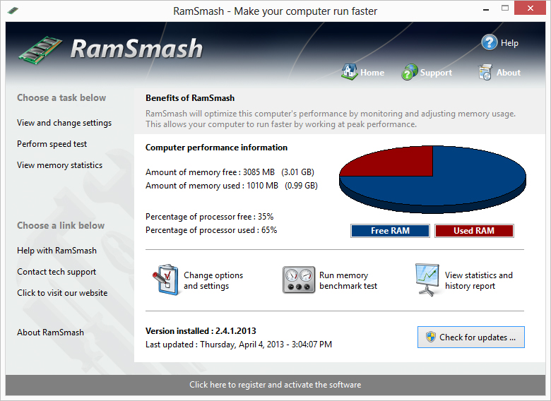 RamSmash is a tool for all which allows you to maintain and manage memory the right way. No modifications to your hardware are made and all adjustments and settings are done in an easy to use interface that a child could use.